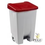 Мусорный контейнер с педалью и крышкой MOBILY 80L пластик белый/красный