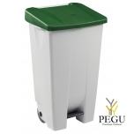 Мусорный контейнер с педалью и крышкой MOBILY 120L пластик белый/зелёный