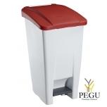 Мусорный контейнер с педалью и крышкой MOBILY 60L пластик белый/красный