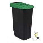 Sorteerimise prügikast 110L, roheline/must polüpropileen