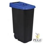 Мусорный бак для сортировки 110L, синий/чёрный, полипропилен
