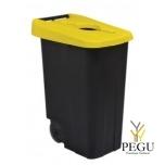 Мусорный бак для сортировки 85L, жёлтый/чёрный, полипропилен
