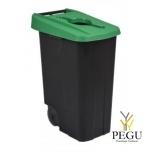 Мусорный бак для сортировки 85L, зелёный/чёрный, полипропилен
