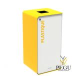 Sorteerimise prügikast lukuga CUBATRI 40L valge/kolane RAL1021 plastik