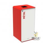 Сортировочный мусорный бак с замком CUBATRI 40L белый/красный RAL3020 металл
