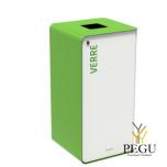 Sorteerimise prügikast lukuga CUBATRI 40L valge/roheline RAL6018 klaas