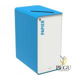 Sorteerimise prügikast lukuga CUBATRI 65L valge/sinine RAL5015 paber