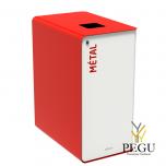 Sorteerimise prügikast lukuga CUBATRI 65L valge/punane RAL3020 metall