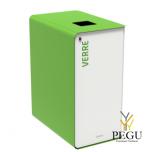 Сортировочный мусорный бак с замком CUBATRI 65L белый/зелёный RAL6018 стекло