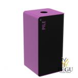 Сортировочный мусорный бак с замком CUBATRI 40L чёрный/фиолетовый RAL4008 батарейки