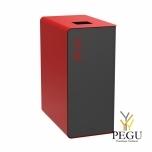 Мусорный бак для сортировки CUBATRI 65L чёрный/красный RAL3020 металл