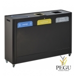 Sorteerimise prügi kogumissüsteem TRIMOUV 3 x 60L papp ja paber/plastik/muud jäätmed