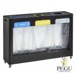 Sorteerimise prügi kogumissüsteem TRIMOUV 3 x 110L paber papp/plastik/muud jäätmed