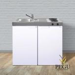 Miniköök metallist Stengel MK100,  külmikuga, 2-se elektripliidiga, valge, valamu vasakul
