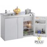 Miniköök metallist Stengel MK120,  külmik, 2-ne elektripliit, valge, valamu vasakul