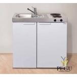 Miniköök metallist Stengel MK90,  külmikuga, 2-se elektripliidiga, valge, valamu vasakul