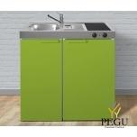Миникухня стальная Stengel MK90,  холодильник, керамическая плита, COLOR, раковина слева