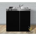 Miniköök metallist Stengel MK90,  külmik, 2-ne elektripliit, COLOR, valamu paremal