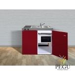 Миникухня металлическая Stengel MKM100,  холодильник, керамическая пита, микроволновая печь, белая, раковина справа