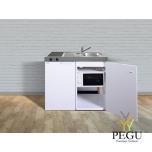 Миникухня стальная Stengel MKM100,  холодильник, керамическая пита, микроволновая печь, белая, раковина справа