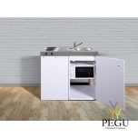 Миникухня металлическая Stengel MKM100,  холодильник, электрическая плита, микроволновая печь, белая, раковина справа