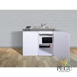 Miniköök metallist Stengel MKM100,  külmik , elektripliit, mikrolaineahi ,valge, valamu paremal