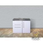 Miniköök metallist Stengel MPGS110,  külmikuga, nõudepesumasinaga, induktsioonpliidiga, valge, valamu vasakul