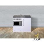 Miniköök metallist Stengel MPM100,  külmikuga, mikrolaineahjuga, induktsioonpliidiga, valge, valamu vasakul