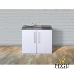 Miniköök metallist Stengel MP100,  külmikuga, induktsioonpliidiga, valge, valamu vasakul