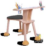 Clexo место для игры, детский стул со столиком, сидение чёрное, ножки жёлтые