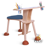 Clexo место для игры, детский стул со столиком, сидение синее, ножки красные