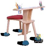 Clexo mängu koht, laud istmega, Iste punane, jalad sinised